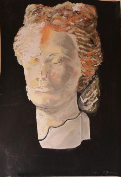Buste réalisé à partir d'une photo.  Technique: acrylique. Dim. (cm): 70 x 100. Support: papier cartonné lisse épais.