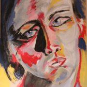 """Portrait de femme intitulé """"Regard de femme"""", réalisé à l'acrylique en 2019 dans le cadre de l'EmAiDT (exercice)."""